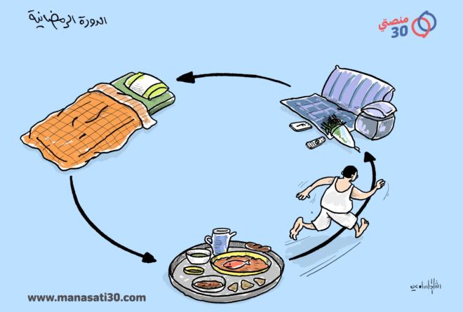 كاريكاتير- دورة الحياة اليومية في رمضان